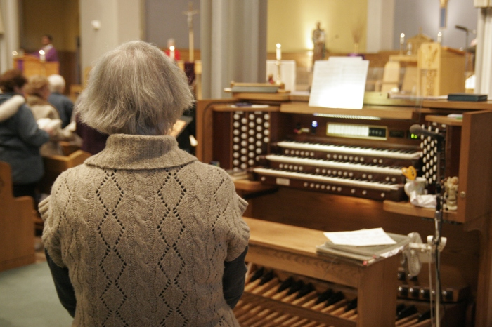 Helene Fortier is the church organist at St. Joseph's Church in Biddeford, Maine